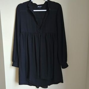 Nasty Gal Black Chiffon Buttondown Baby Doll Dress